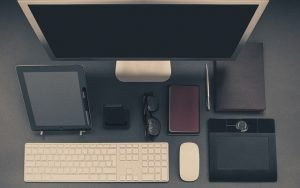 Computer and accessories on a desk